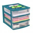 Clear Desktop 3 Drawer With Storage Tray - Green