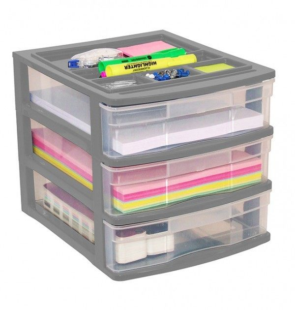 Clear Desktop 3 Drawer With Storage Tray - Grey