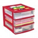 Clear Desktop 3 Drawer With Storage Tray - Red