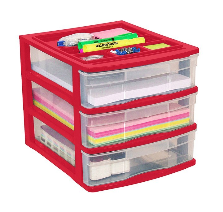 Clear Desktop 3 Drawer With Storage Tray Red