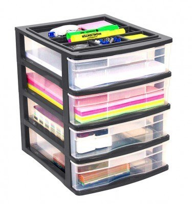 Clear Desktop 4 Drawer With Storage Tray - Black