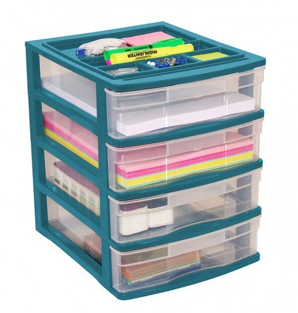 Clear Desktop 4 Drawer With Storage Tray - Green