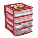 Clear Desktop 4 Drawer With Storage Tray - Red