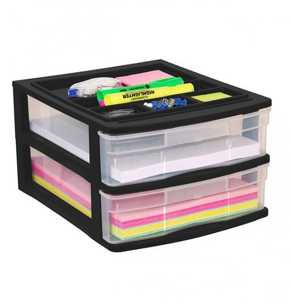 Clear Desktop Drawer With Storage Tray - Black
