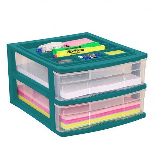 Clear Desktop Drawer With Storage Tray - Green