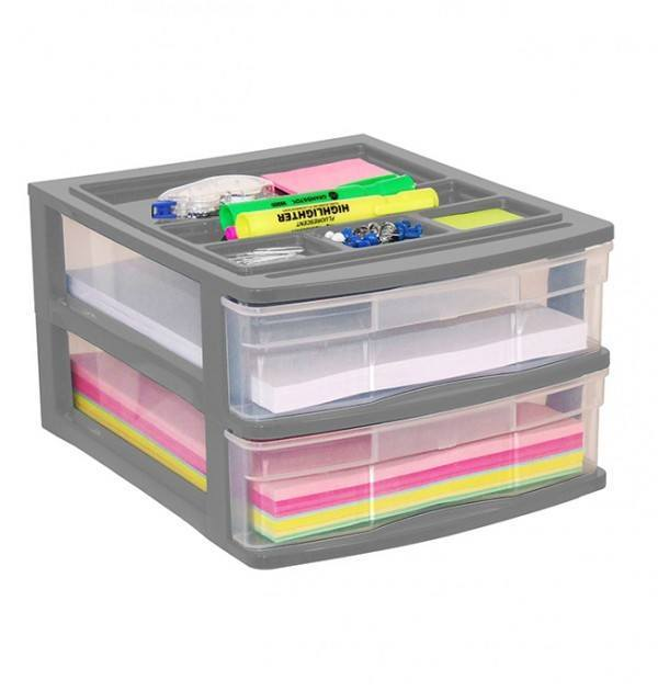 Clear Desktop Drawer With Storage Tray - Grey