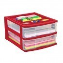 Clear Desktop Drawer With Storage Tray - Red