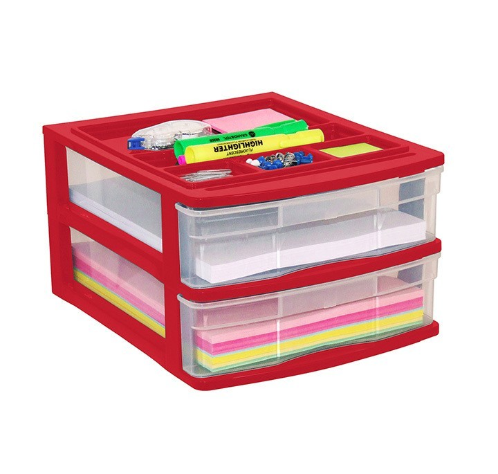 Clear Desktop Storage 2 Drawers W Top Tray Assorted Colours