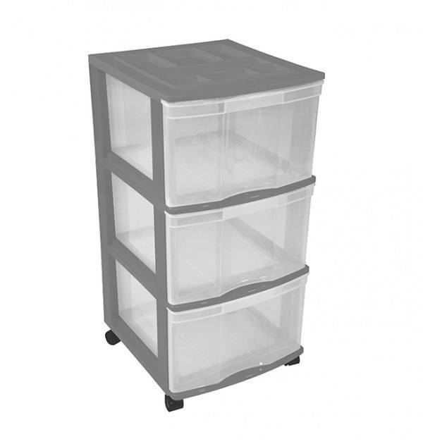 Clear Floor 3 Drawer Storage With Top Tray & Wheels - Grey