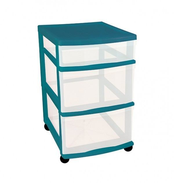 Clear Floor 3 Drawer Storage With Wheels - Green