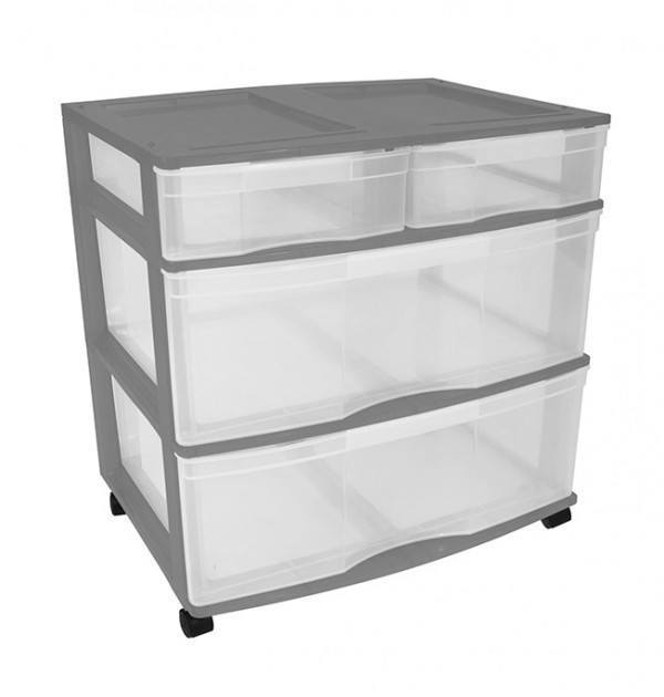 Clear Floor 4 Drawer Storage With Top Tray & Wheels - Grey