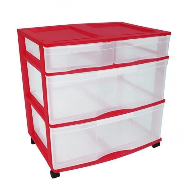 Clear Floor 4 Drawer Storage With Top Tray & Wheels - Red