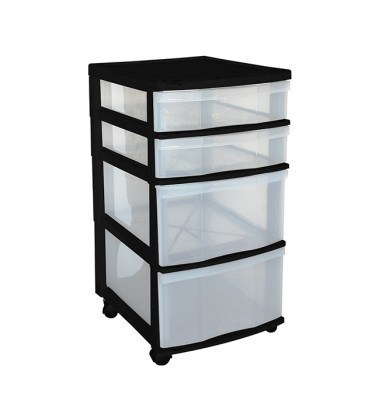 Clear Floor 4 Drawer Storage With Wheels - Black