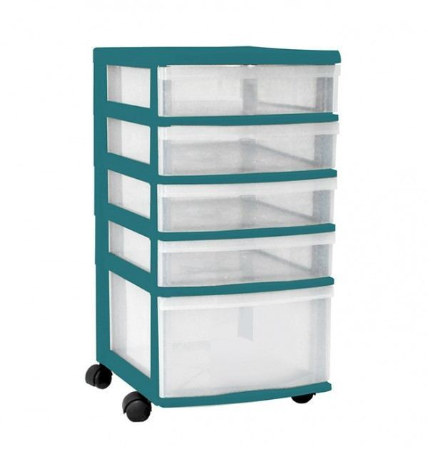 Clear Floor 5 Drawer Storage With Wheels - Green
