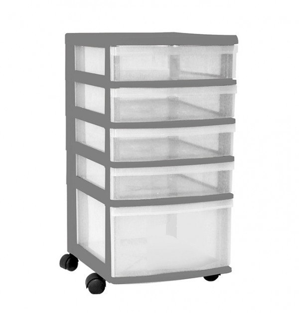 Clear Floor 5 Drawer Storage With Wheels - Grey