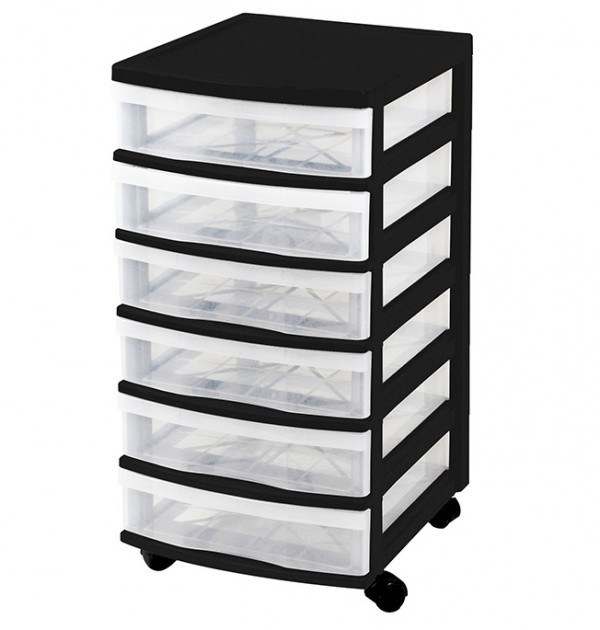 Clear Floor 6 Drawer Storage With Wheels - Black