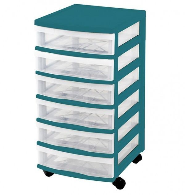 Clear Floor 6 Drawer Storage With Wheels - Green