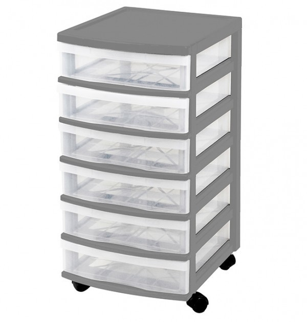 Clear Floor 6 Drawer Storage With Wheels - Grey