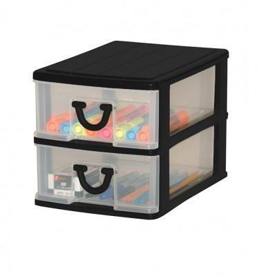 Clear Nic Nack 2 Drawer - Black