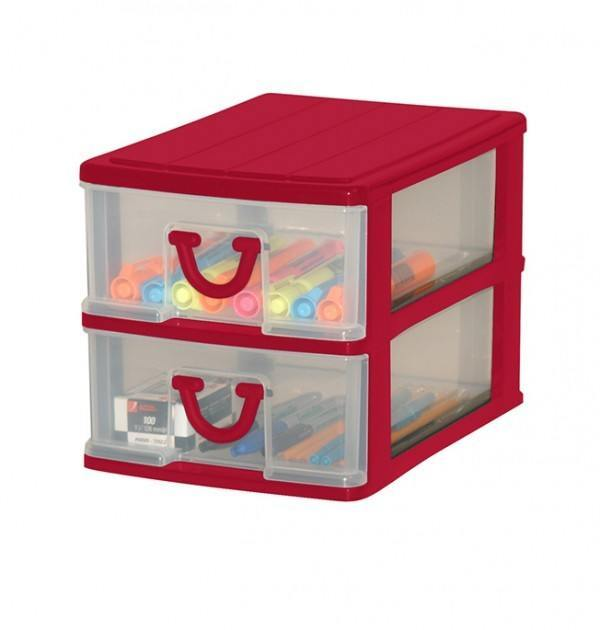 Clear Nic Nack 2 Drawer - Red