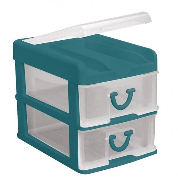 Clear Nic Nack 2 Drawer With Hinged Lid - Green