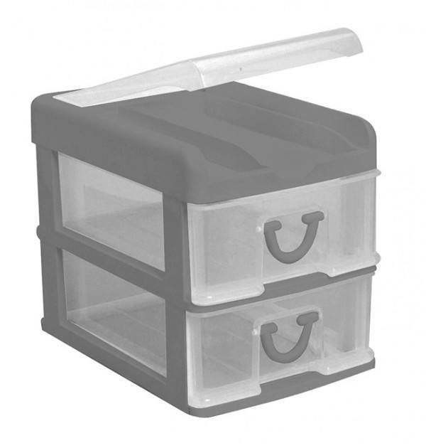 Clear Nic Nack 2 Drawer With Hinged Lid - Grey