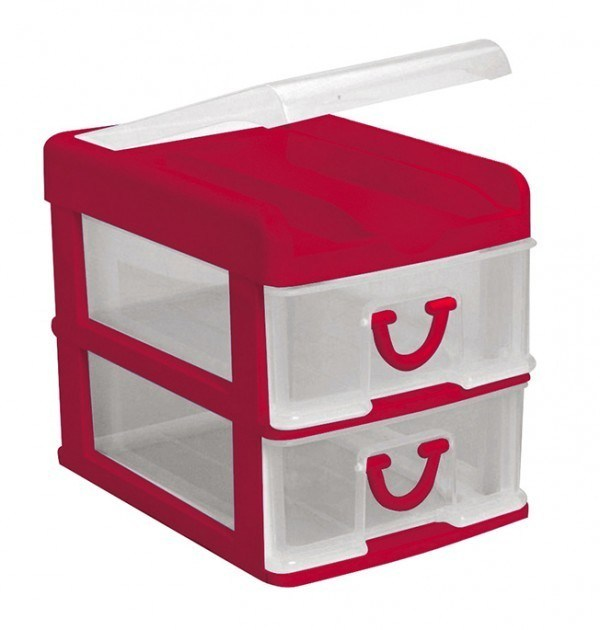 Clear Nic Nack 2 Drawer With Hinged Lid - Red