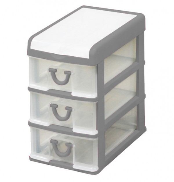 Clear Nic Nack 3 Drawer With Hinged Lid - Grey