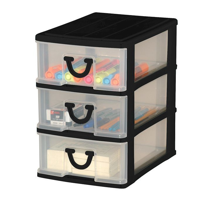 clear nick nack storage 3 drawers assorted colours gracious