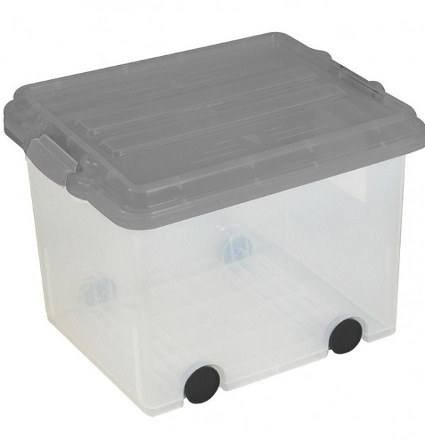 Clear Storage Bin Large Size Locking Lid w: Wheels - Grey