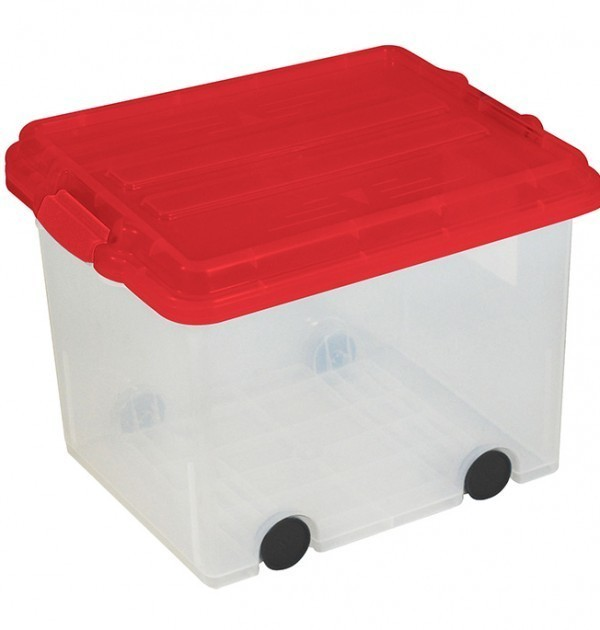 Clear Storage Bin Large Size Locking Lid w: Wheels - Red