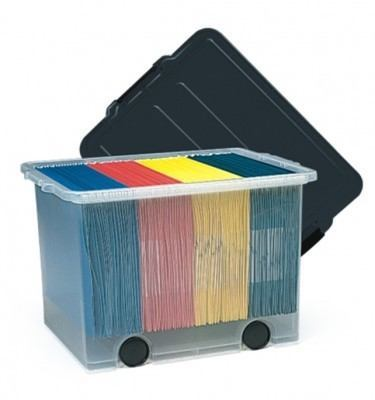 Single FIle Caddy With Files & Lid Clear