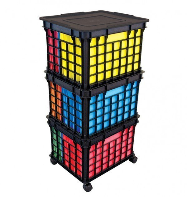 Stacking Black Crates With File Folders And Lid