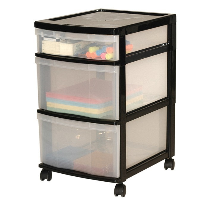 Three Storage Drawers With Wheels  sc 1 st  Gracious Living Corporation & Clear Floor Storage - 3 Drawers w/ Wheels - Assorted Colours ...