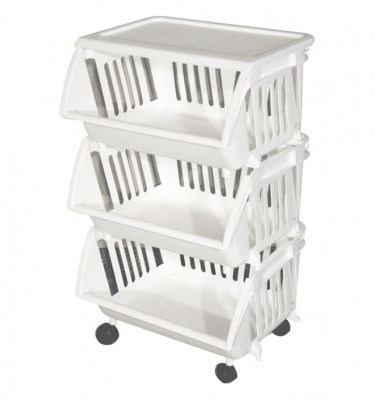Stacking Basket white With Wheels